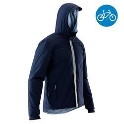 Warme regenjas voor heren op de fiets 900 marineblauw