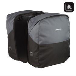 Doppel-Fahrradtasche Gepäcktasche 100 2×15l grau/schwarz