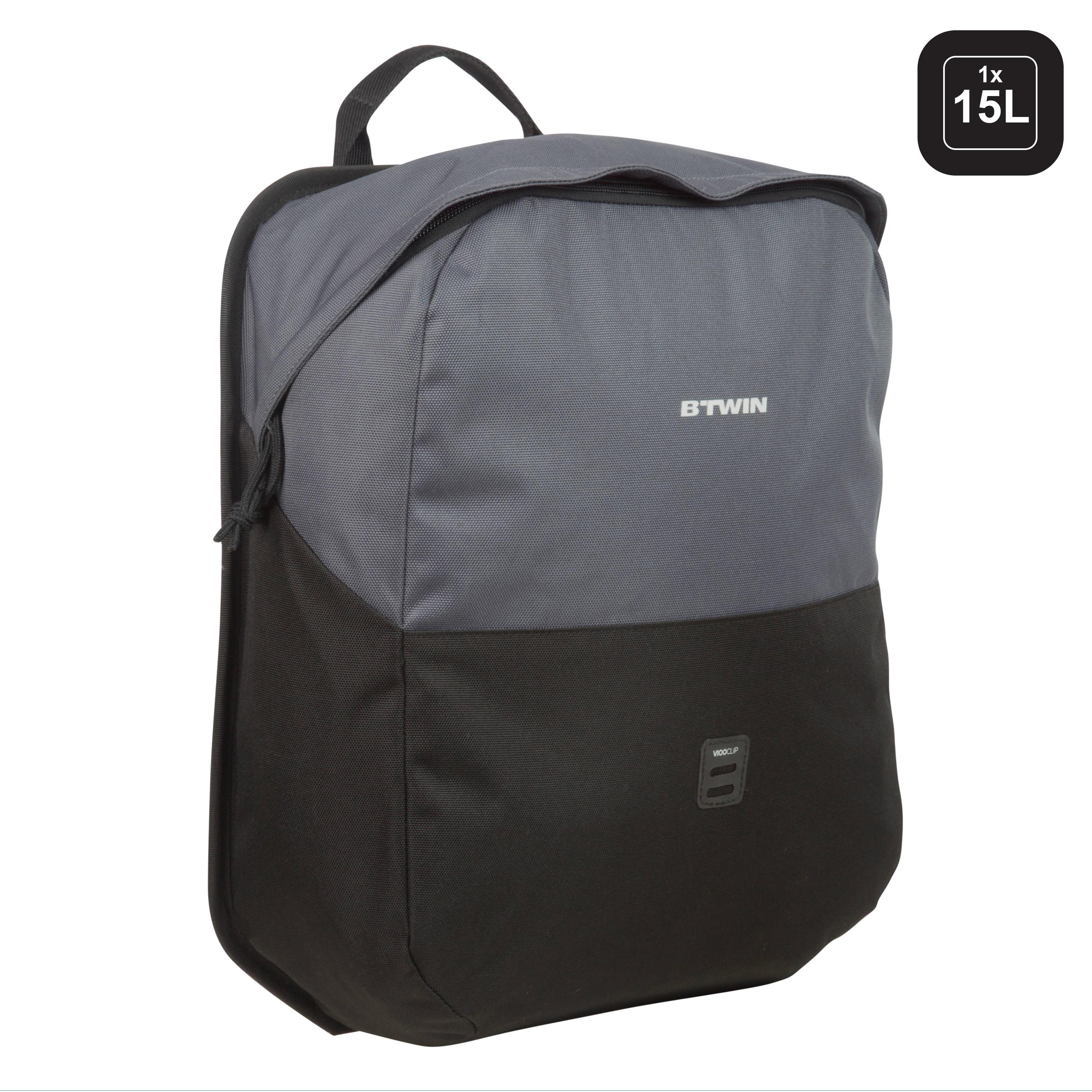B'twin Fietstas voor in de stad 100 15 liter voor bagagedrager kopen? Leest dit eerst: Fietsaccessoires Fietsmanden en fietstassen/Fietstassen met korting