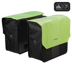 Doppel-Fahrradtasche Gepäcktasche 500 2 × 20 Liter schwarz/neongelb