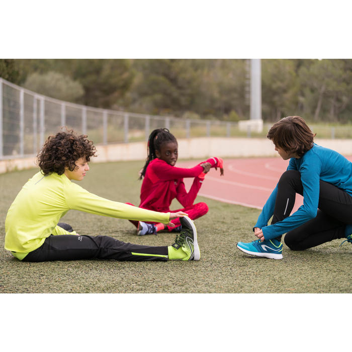 RUN SUPPORT RIP-TAB CHILDREN'S ATHLETICS SHOES - BLACK GREY ORANGE FLUO