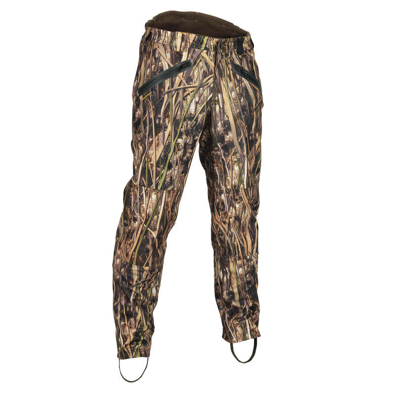 CAMOUFLAGE REEDS CLOTHING Shooting and Hunting - 500 warm camouflaged trousers SOLOGNAC - Hunting Types