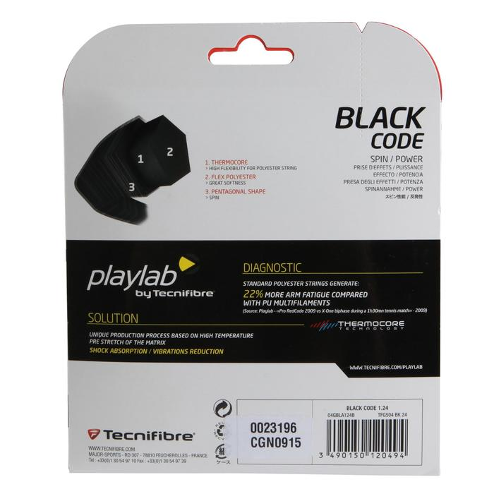 CORDAGE DE TENNIS MONOFILAMENT BLACK CODE 1.24mm NOIR - 152702