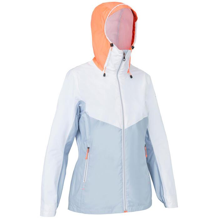 Sailing 100 Women's Waterproof Sailing Jacket - White Grey
