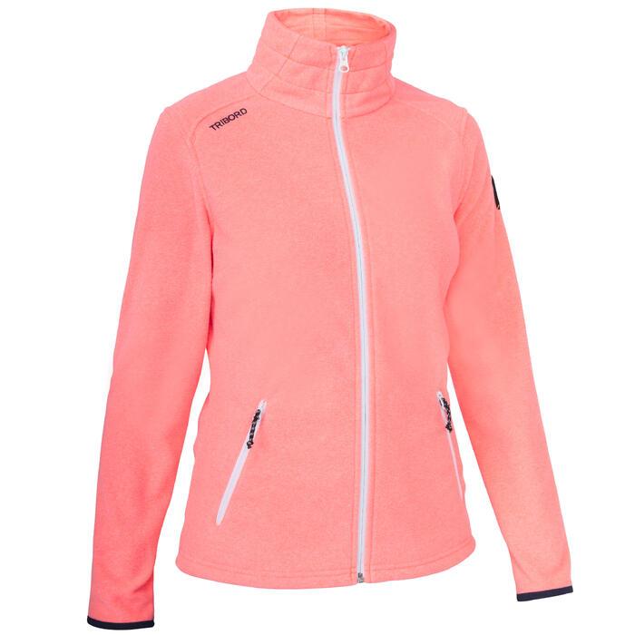 Waterafstotende fleece voor zeilen dames Race 100 fluokoraal
