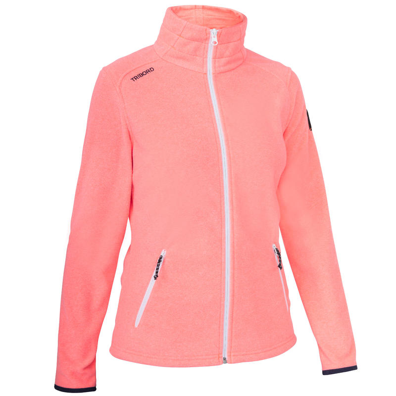 Women's Sailing Water Repellent Fleece Race 100 - Neon Coral.