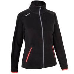 Waterafstotende damesfleece voor wedstrijdzeilen Race 100 zwart/roze.