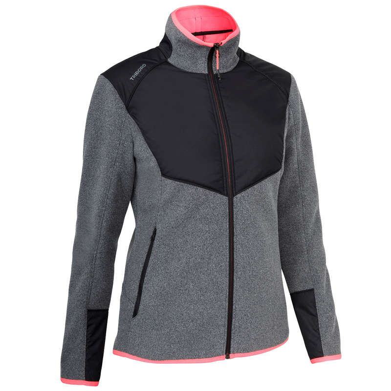 CRUISING COLD WEATHER WOMAN CLOTHES Sailing - Inshore 900 W Fleece Grey Blck TRIBORD - Sailing Clothing