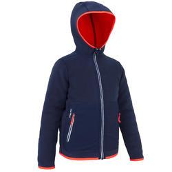 兒童款航海雙面刷毛外套500-藍底粉邊