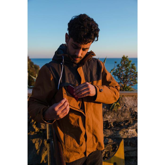 Veste 3en1 trekking voyage TRAVEL 100 homme camel
