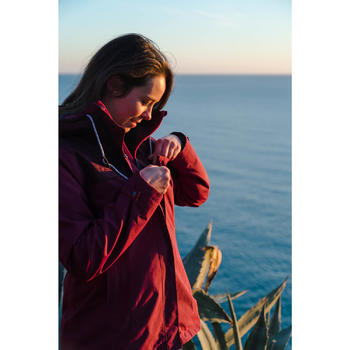 Women's pink 3 in 1 trekking travel jacket TRAVEL 100