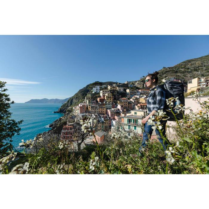 Trekkingbluse Langarm Travel 100 warm Damen grau kariert