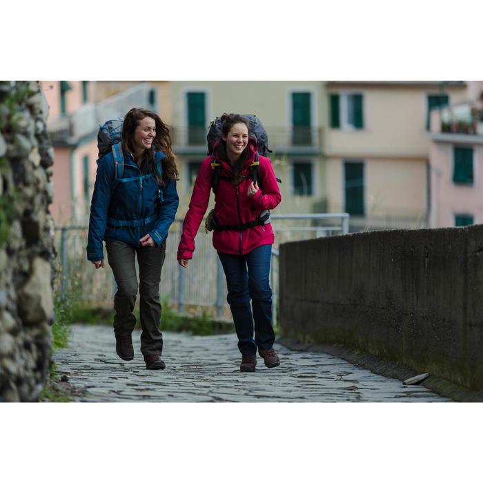 Pantalon modulable trekking TRAVEL100 femme bleu denim