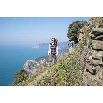 Blouse met lange mouwen voor trekking dames Travel 100 warm bordeaux geruit