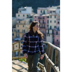 Camisa montaña y trekking FORCLAZ TRAVEL 100 warm cuadros Mujer burdeos