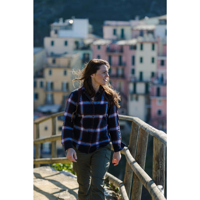 Chemise manches longues trekking TRAVEL100 warm femme carreaux bordeaux