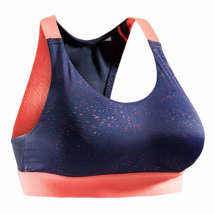 Brassière fitness cardio femme imprimés géométriques noirs 500 Domyos - 1527820