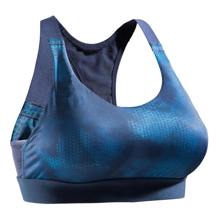 Brassière fitness cardio femme imprimés géométriques noirs 500 Domyos - 1527822
