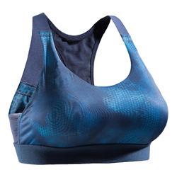 Brassière fitness cardio femme imprimés géométriques noirs 500 Domyos