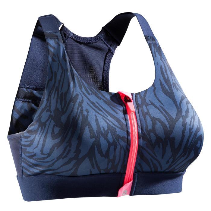 Brassière zip fitness cardio femme imprimés tropicaux roses 900 Domyos - 1527825