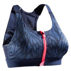 Sportbeha rits fitness cardiotraining dames marineblauw met strepen 900