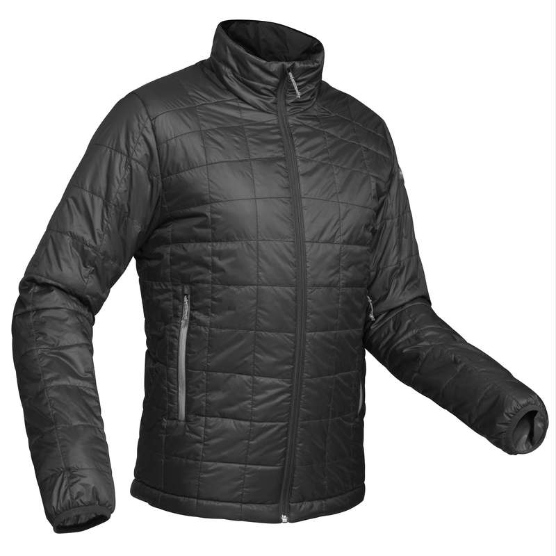 MEN DOWN JACKET, VEST MOUNTAIN TREK Trekking - TREK 100 MEN'S PADDED JACKET - BLACK  FORCLAZ - Trekking
