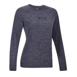 女款健身伸展運動衫500 - 黑色