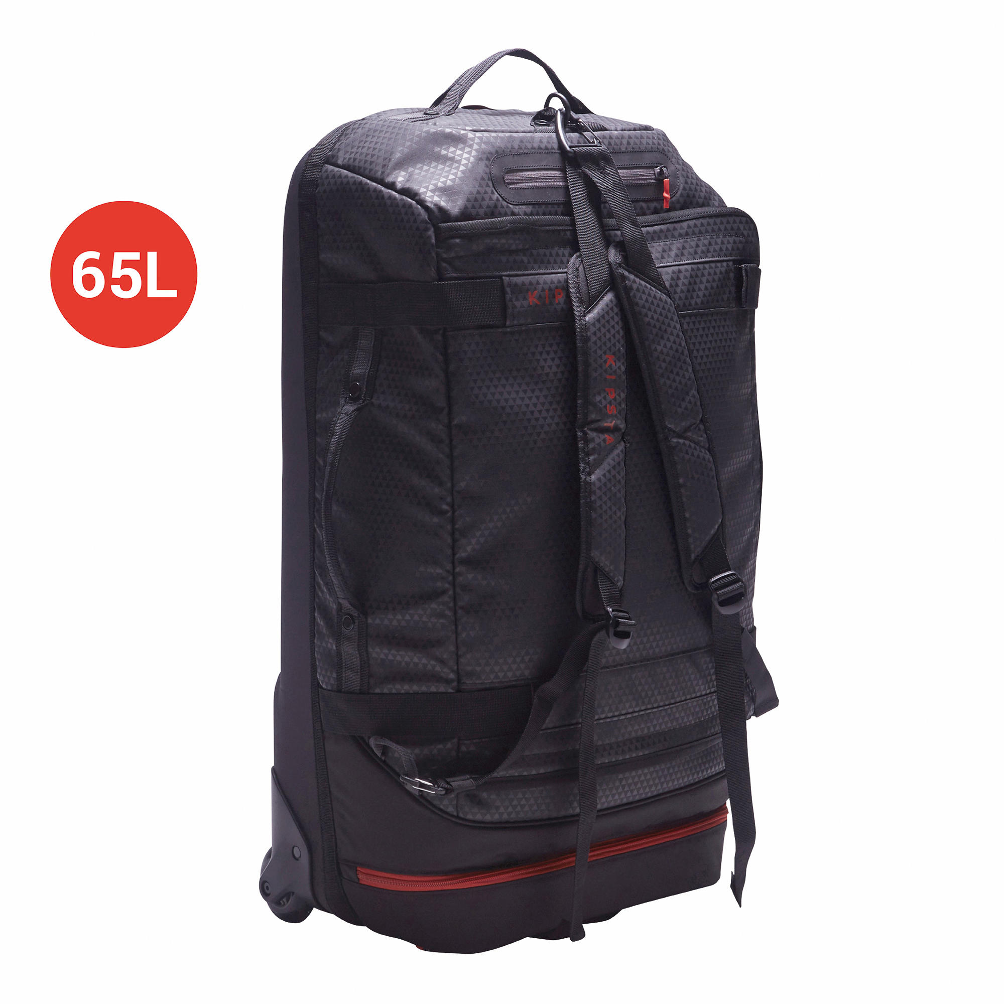 Away 65 Litre Wheeled Sports Bag - Black/Red
