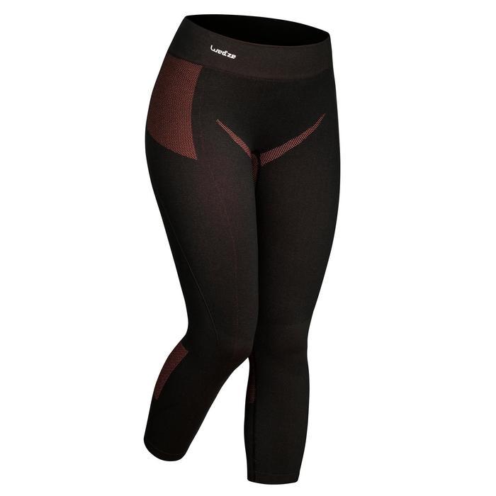 Pantalón térmico nieve y esquí Wed'ze interior 900 mujer negro rosa