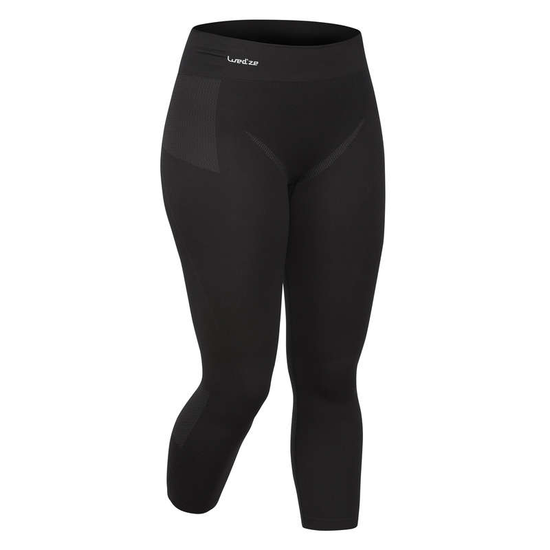 WOMEN SKI BASELAYER & PULL Skiing - 900 W Base Layer Bottom - Blk WEDZE - Ski Wear