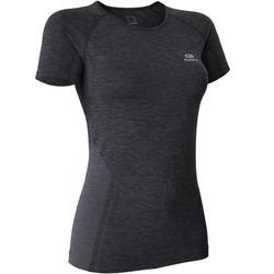 女款跑步T恤Skincare Kiprun - 黑色