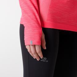 女款跑步長袖T恤KIPRUN SKINCARE - 珊瑚紅