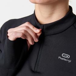 Hardloopshirt met lange mouwen voor dames Kiprun Warm Light zwart roze