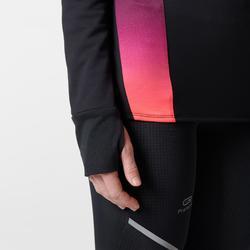 Laufshirt Langarm Kiprun Warm Light Damen schwarz/rosa