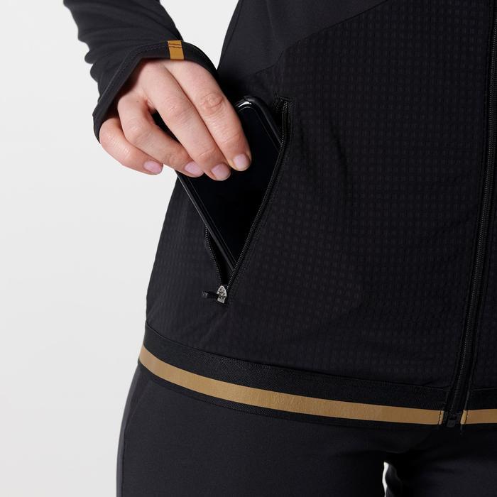 Hardloopjack voor dames Kiprun Warm zwart/goud