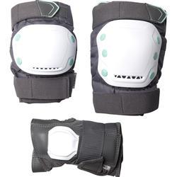 Set 3 beschermers inlineskaten volwassenen FIT500 grijs mint