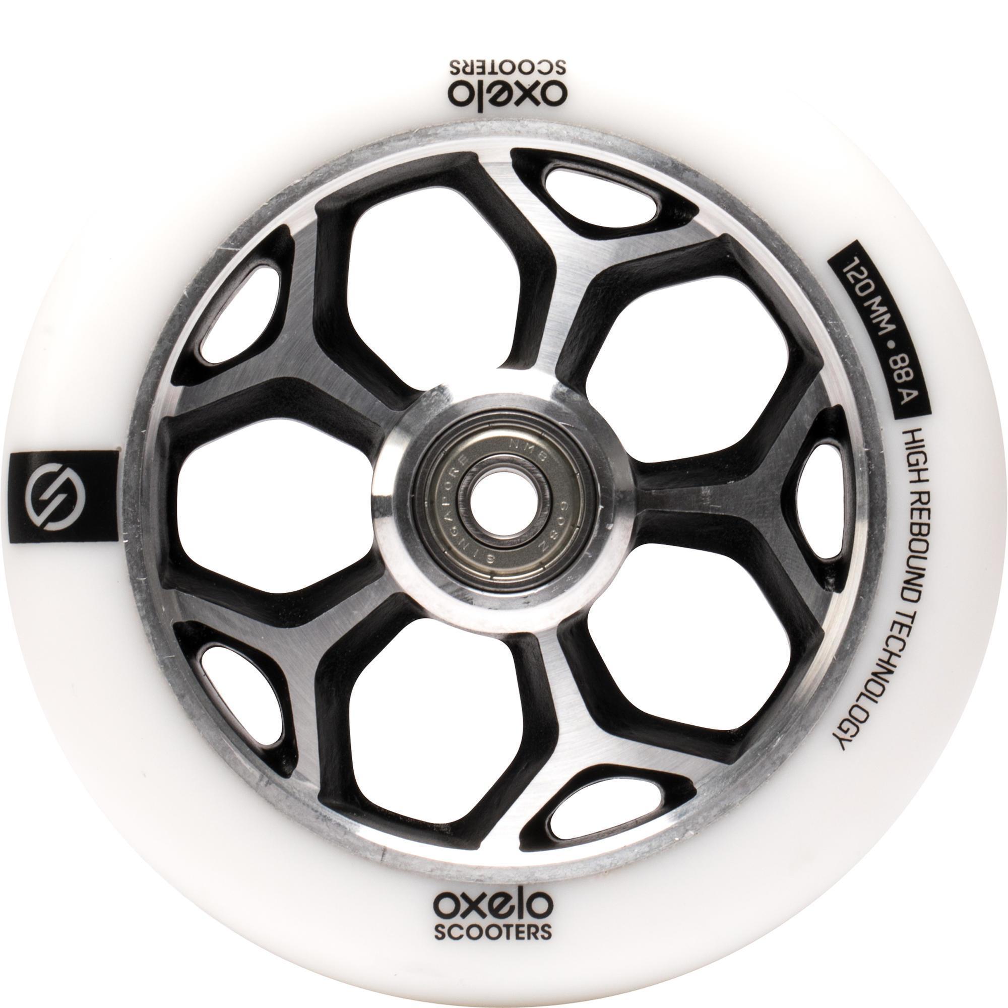 Oxelo Wiel voor freestylestep 120 mm wit / chroom