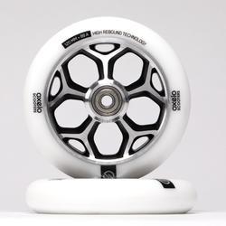 Roue trottinette freestyle core alu gris PU blanc 120mm