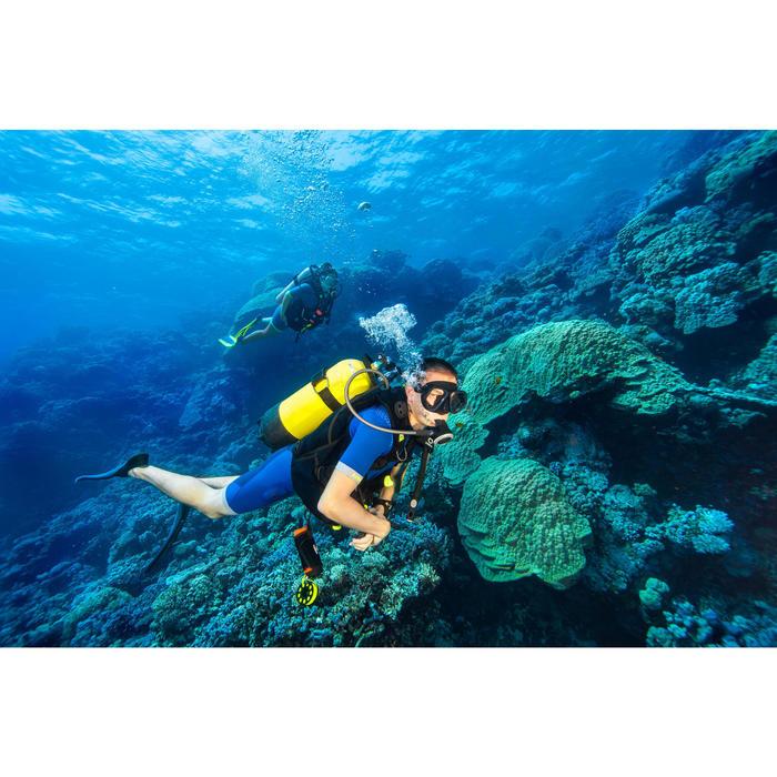 Masque de plongée sous marine SCD 500 Bi-hublot jupe noire et cerclage bleu