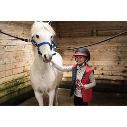 Polo manches longues équitation fille 140 GIRL gris chiné et rose