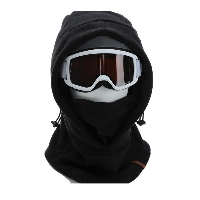 成人滑雪安全帽外層頭套 - 黑色。