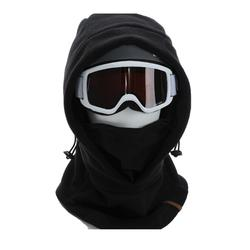 BLACK ADULT SKI HOOD WITH MOUNTED HELMET