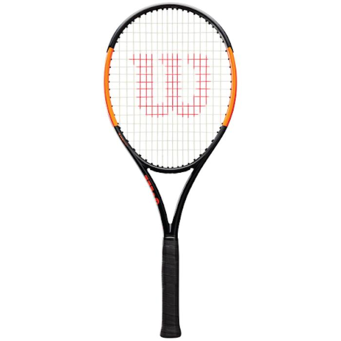 RAQUETTE DE TENNIS ADULTE BURN 100 LS NOIR ORANGE