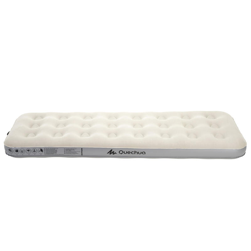 Camping Mattress (Inflatable) 1 Person - White/Grey