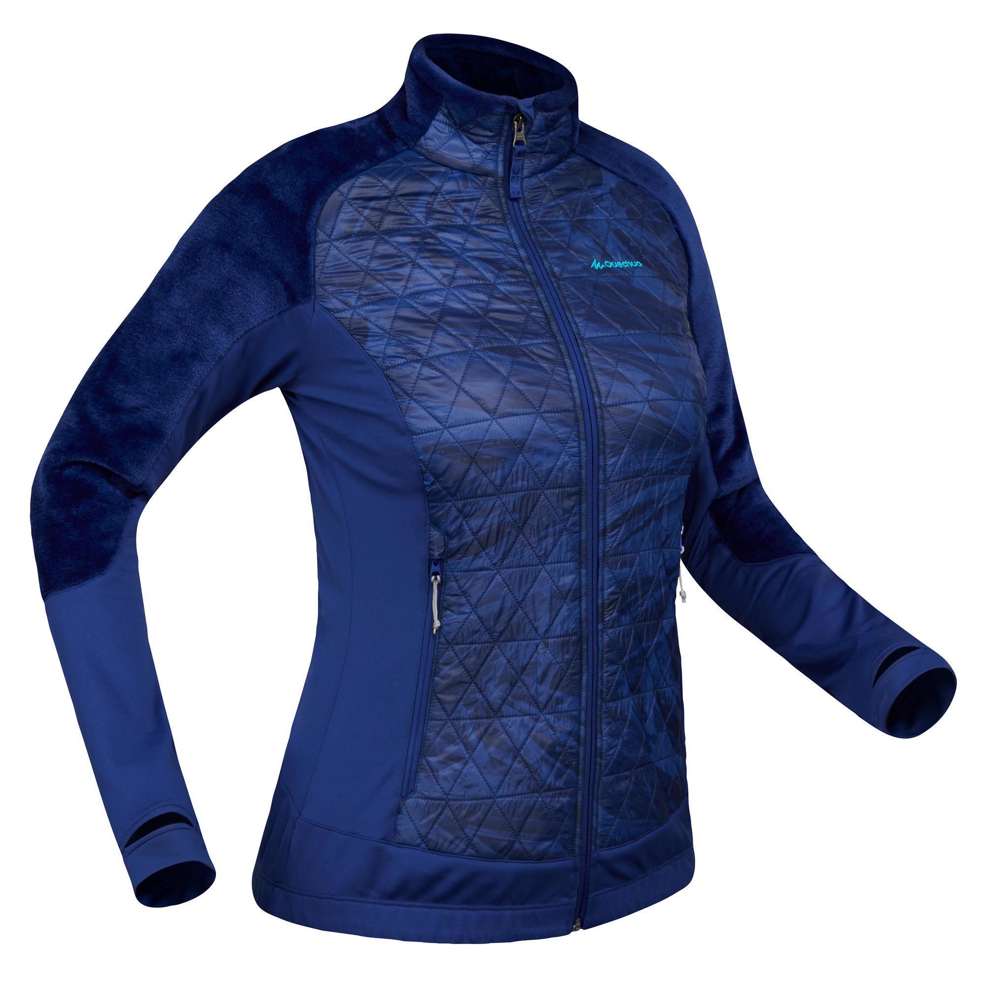 pas cher pour réduction 4117b cecc0 Randonnée neige - Veste polaire hybride de randonnée neige femme SH900  X-warm bleu.
