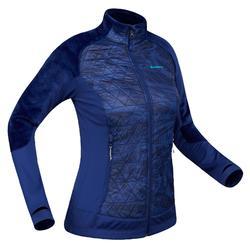 Chaqueta polar híbrida de senderismo nieve mujer SH900 x-warm azul.