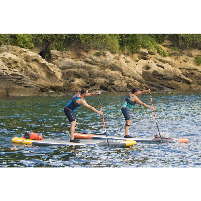 """STAND UP PADDLE GONFLABLE RANDONNEE COURSE 500 / 12'6-32"""" JAUNE"""