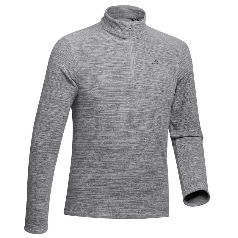 MH100 Men's Mountain Hiking Fleece Sweater - Mottled Grey