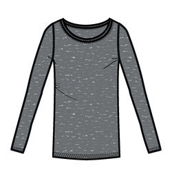 Langarmshirt 100 Gym & Pilates Damen grau meliert