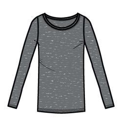 女款皮拉提斯與溫和健身長袖T恤100 - 雜灰色